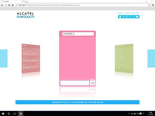 Alcatel MiFi Y900 - Impostazioni - Inviare SMS - Fase 4