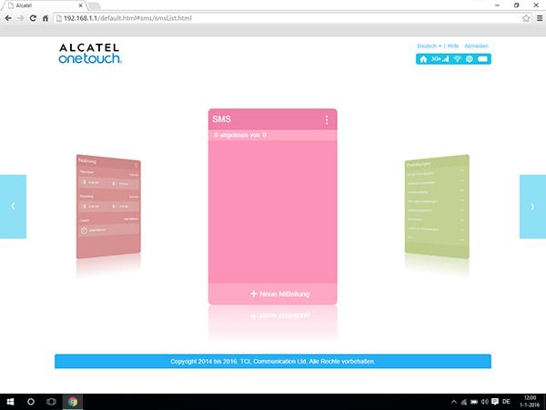 Alcatel MiFi Y900 - Einstellungen - Senden von SMS - Schritt 2