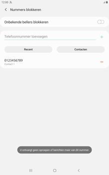 Samsung galaxy-tab-a-8-0-lte-2019-sm-t295 - Beveiliging en ouderlijk toezicht - Nummer blokkeren - Stap 11