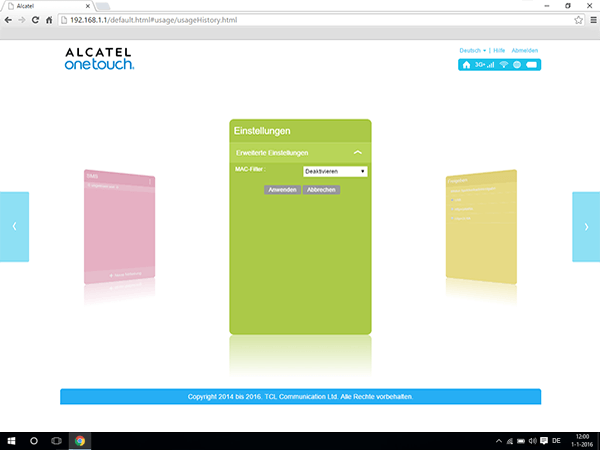 Alcatel MiFi Y900 - Einstellungen - MAC-Filter aktivieren - Schritt 5