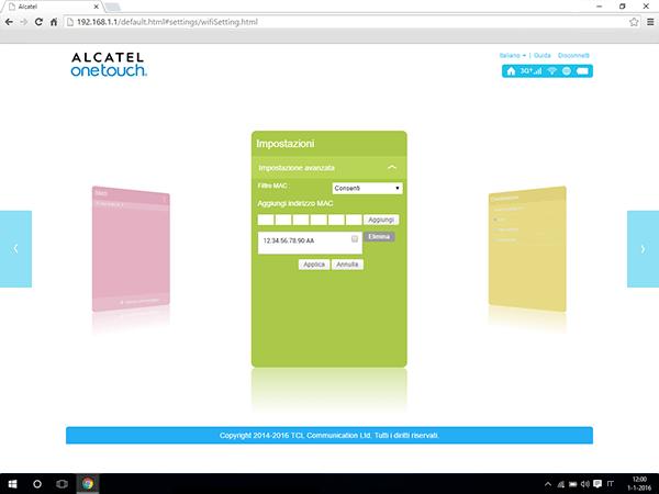 Alcatel MiFi Y900 - Impostazioni - abilitare filtro MAC - Fase 11