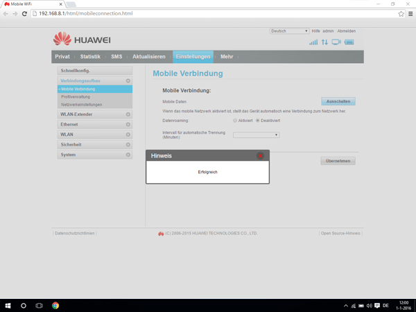 Huawei E5770 - Internet und Datenroaming - Deaktivieren von Datenroaming - Schritt 7