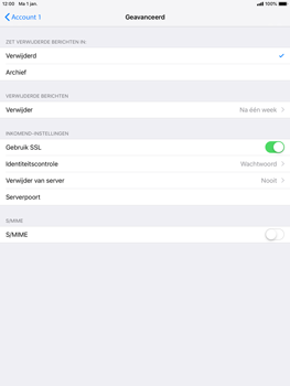 Apple ipad-air-2-ios-12 - E-mail - Account instellen (POP3 met SMTP-verificatie) - Stap 22