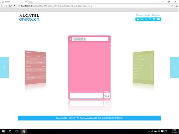 Alcatel MiFi Y900 - Paramètres - envoi de SMS - Étape 4