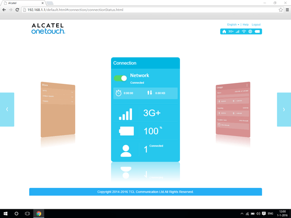 Alcatel MiFi Y900 - Settings - Resetting to factory settings - Step 1
