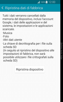 Samsung Galaxy Note Edge - Dispositivo - Ripristino delle impostazioni originali - Fase 7