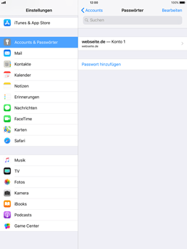 Apple iPad mini 2 - iOS 11 - Anmeldedaten hinzufügen/entfernen - 13 / 13