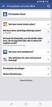 Samsung Galaxy S8 Plus - Datenschutz und Sicherheit - Datenschutzeinstellungen von Facebook ändern - 23 / 35