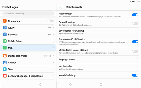 Huawei MediaPad T3 (10.0) LTE - Ausland - Im Ausland surfen – Datenroaming - 8 / 12