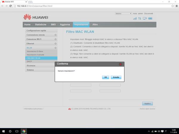 Huawei E5770 - Impostazioni - Abilitare filtro MAC - Fase 7