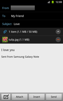 Samsung N7000 Galaxy Note - E-mail - Sending emails - Step 12