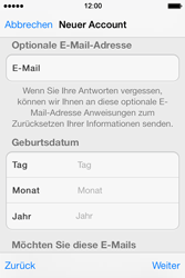 Apple iPhone 4 S mit iOS 7 - Apps - Konto anlegen und einrichten - Schritt 26