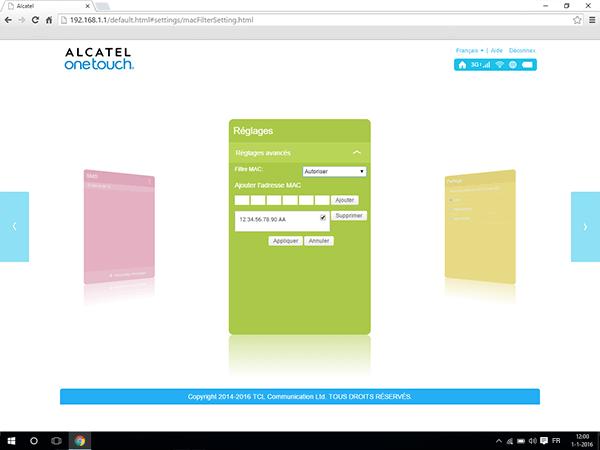 Alcatel MiFi Y900 - Paramètres - Activer un filtre MAC - Étape 8