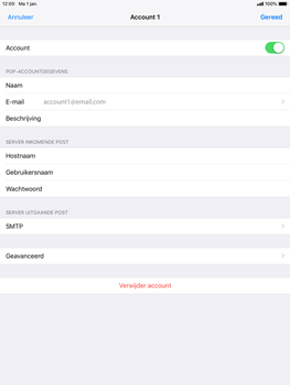 Apple ipad-air-ios-12 - E-mail - Account instellen (POP3 zonder SMTP-verificatie) - Stap 16