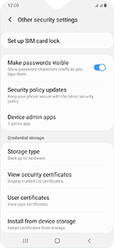 Samsung Galaxy A20e - Security - Set the PIN code for your SIM card - Step 6