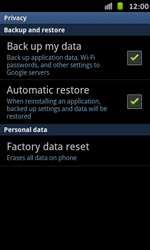 Samsung Galaxy S Advance - Mobile phone - Resetting to factory settings - Step 5