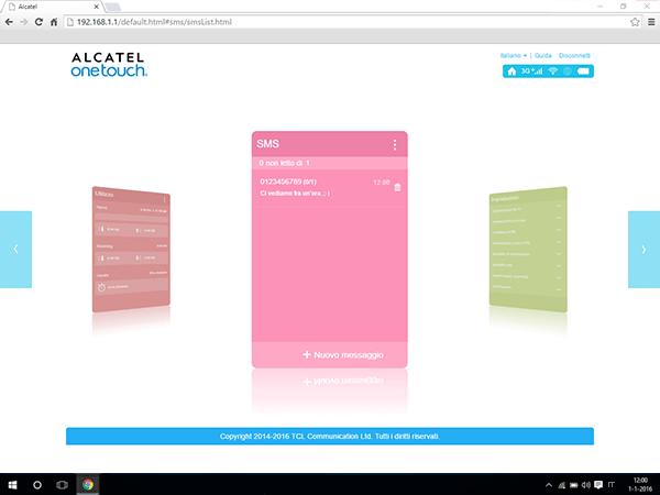 Alcatel MiFi Y900 - Impostazioni - inviare SMS - Fase 7