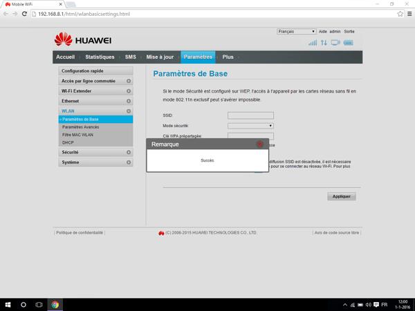 Huawei E5770 - Paramètres - Modifier le nom et le mot de passe du réseau - Étape 8