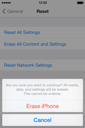 Apple iPhone 4S iOS 7 - Mobile phone - Resetting to factory settings - Step 7