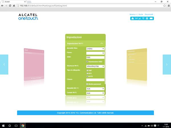 Alcatel MiFi Y900 - Impostazioni - modificare nome della rete e password - Fase 4