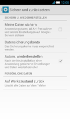 Alcatel One Touch Idol S - Gerät - Zurücksetzen auf die Werkseinstellungen - Schritt 5