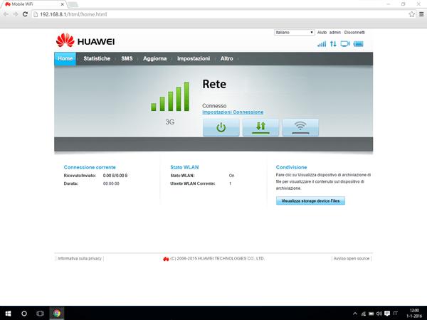 Huawei E5770 - Internet e roaming dati - Disattivazione del roaming dati - Fase 1