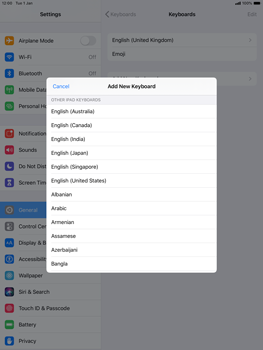 Apple iPad Air (2019) - iPadOS 13 - Getting started - How to add a keyboard language - Step 7