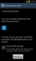 Samsung Galaxy S II - Mobile phone - Resetting to factory settings - Step 6