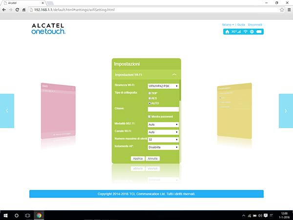 Alcatel MiFi Y900 - Impostazioni - Modificare la modalità WLAN - Fase 5