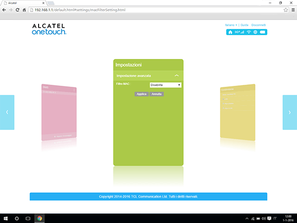 Alcatel MiFi Y900 - Impostazioni - abilitare filtro MAC - Fase 5