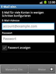 Samsung Galaxy Pocket - E-Mail - Manuelle Konfiguration - Schritt 5