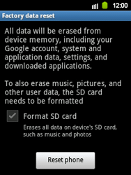 Samsung Galaxy Y - Mobile phone - Resetting to factory settings - Step 6