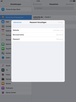 Apple iPad mini 2 - iOS 11 - Anmeldedaten hinzufügen/entfernen - 6 / 13