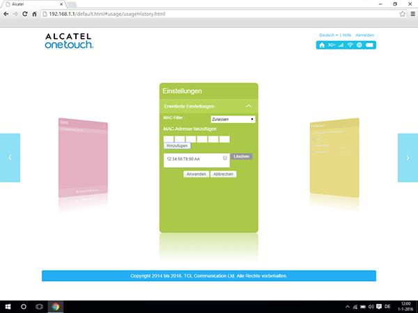 Alcatel MiFi Y900 - Einstellungen - MAC-Filter aktivieren - Schritt 7