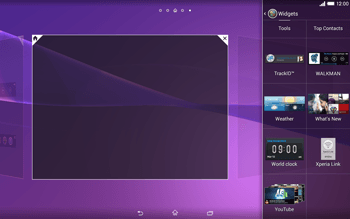 Sony Xperia Tablet Z2 LTE - Getting started - Installing widgets and applications on your start screen - Step 5