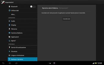 Sony Xperia Tablet Z LTE - Dispositivo - Ripristino delle impostazioni originali - Fase 8