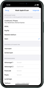 Apple iphone-11-model-a2221 - Applicaties - Account aanmaken - Stap 17