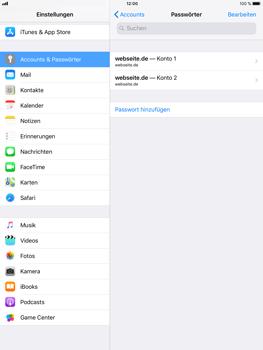 Apple iPad Air 2 - iOS 11 - Anmeldedaten hinzufügen/entfernen - 9 / 13