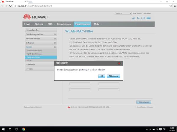 Huawei E5770 - Einstellungen - MAC-Filter aktivieren - Schritt 7