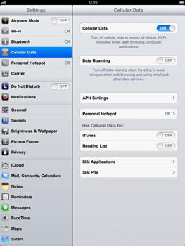Apple iPad mini - Internet and data roaming - Disabling data roaming - Step 5
