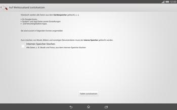 Sony Xperia Tablet Z2 LTE - Gerät - Zurücksetzen auf die Werkseinstellungen - Schritt 6