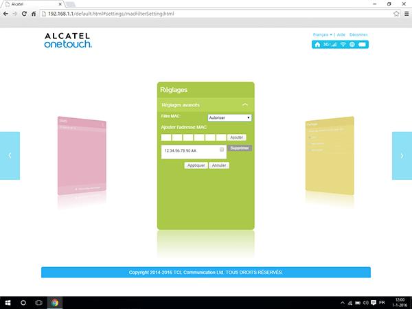 Alcatel MiFi Y900 - Paramètres - Activer un filtre MAC - Étape 7
