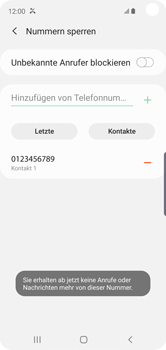 Samsung Galaxy S10e - Anrufe - Anrufe blockieren - Schritt 12