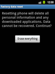Samsung Galaxy Y - Mobile phone - Resetting to factory settings - Step 7