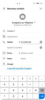 Huawei P40 Pro - Contact, Appels, SMS/MMS - Ajouter un contact - Étape 8