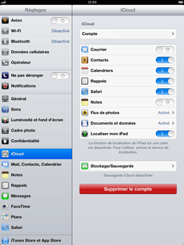 Apple iPad mini - Applications - Configuration du service iCloud d