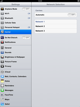 Apple iPad Retina - Network - manual network selection - Step 8