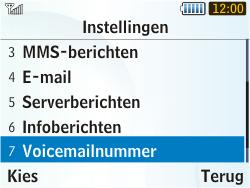 Samsung S3350 Chat 335 - Voicemail - Handmatig instellen - Stap 5