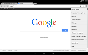 Sony Xperia Tablet Z2 LTE - Internet et roaming de données - Navigation sur Internet - Étape 10