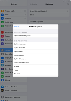 Apple iPad Pro 11 (2018) - iPadOS 13 - Getting started - How to add a keyboard language - Step 7